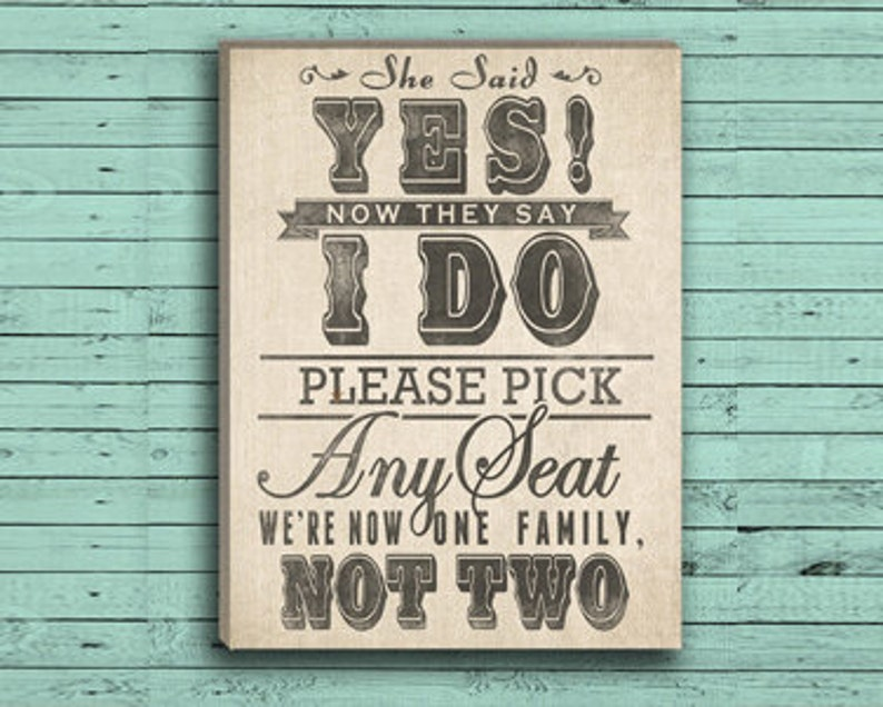 Wedding Seating Sign  Pick a Seat Not a Side in Burlap or image 0