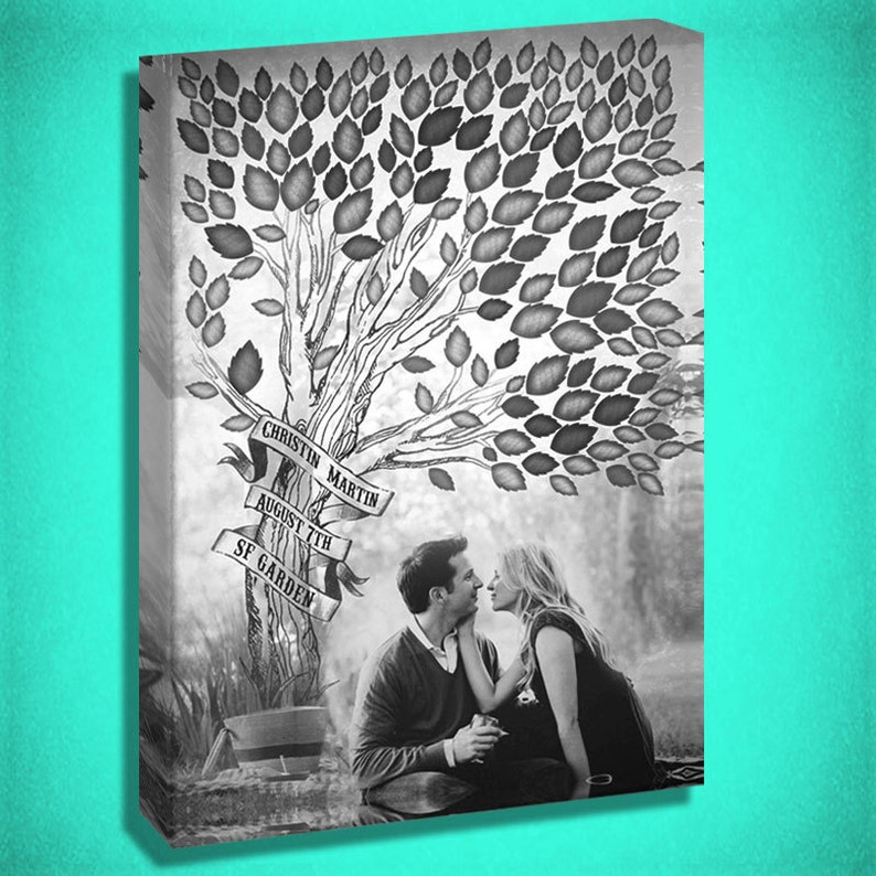 Canvas Guest Book with a Tree for inititals image 0