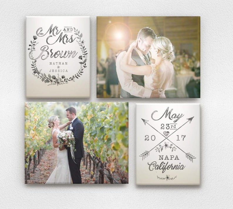 Wedding Wall Art with Names and Wedding Date  Ombre and image 0