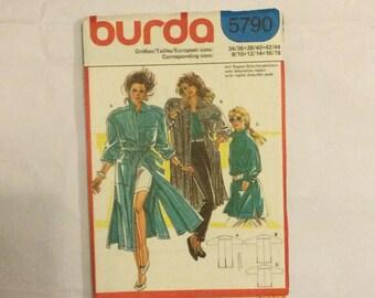 Burda 5790 Vintage 1980s Sewing Pattern Casual Coat, Jacket or Dress 80-100 cm bust factory folded