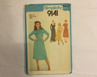 Simplicity 9141 Vintage 1979 Sewing Pattern Dress in two lengths size 14 bust 92 cm factory folded