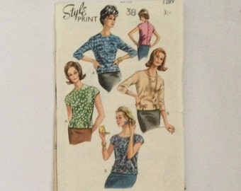 Style Print 1289 vintage 1960s Sewing Pattern Blouses Tops to fit 38 inch chest