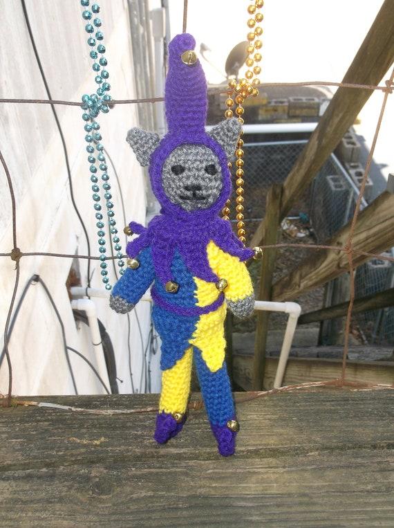 Crocheted kitty cat stuffed animal doll toy Jester