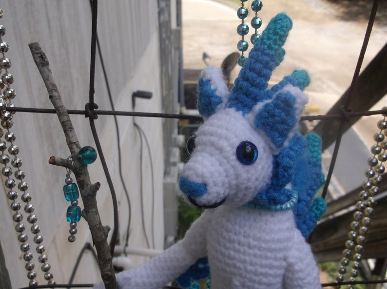 Crochet Feathered Anthro Cat White Cat With Blue Feathers Etsy