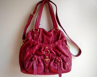 bdcd394f66e426 Authentic Michael Kors Raspberry Fuchsia Berry pink Satchel Handbag pebble  leather gold hardware handbag Bedford Retail 348.00 SALE 78.00
