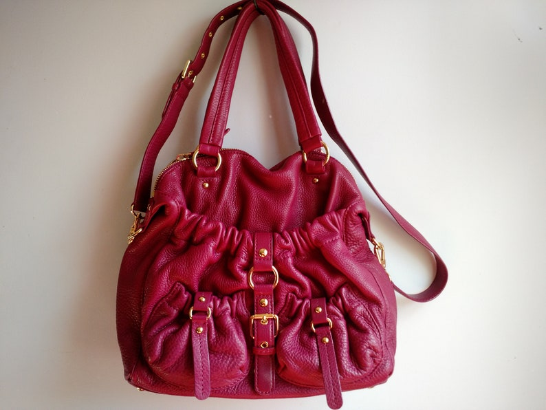 509659b5e7fd Authentic Michael Kors Raspberry Fuchsia Berry pink Satchel | Etsy