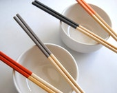 RETIRED - SUNSET Collection - Orange, Coral, Gray - Set of 4 Paint Dipped Blonde Bamboo Chopsticks