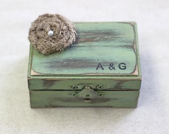 Ring Box Personalized Rustic Vintage Shabby Chic Beach Wedding Decor. Engagement Wedding Gift