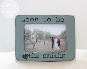 Engagement Gift Personalized Picture Frame for Engagement Party Proposal Fiance Rustic Country Distressed