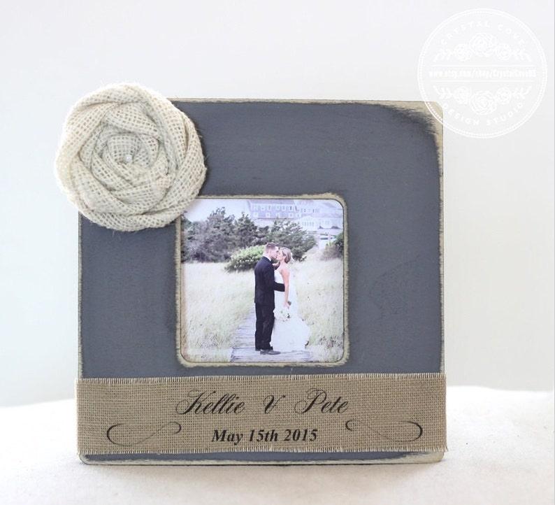 Burlap Wedding Rustic Gift Personalized Picture Frame Gray Yellow Bridal Shower Wedding Gift Wedding Table Display