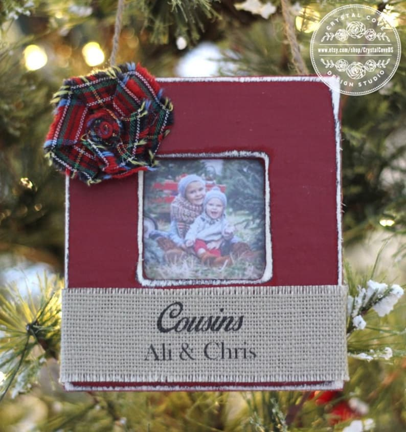 Christmas Ornament for Cousins Gift Personalized Photo image 0
