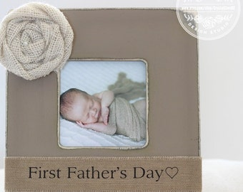 Gift for Dad Frame Personalized Picture Frame 'First Fathers Day' New Dad Father Daddy Gift from Baby Son Daughter