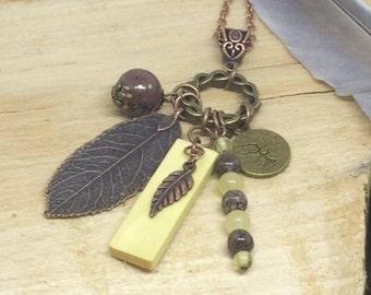 Irish Hazel and Copper Charm Pendant