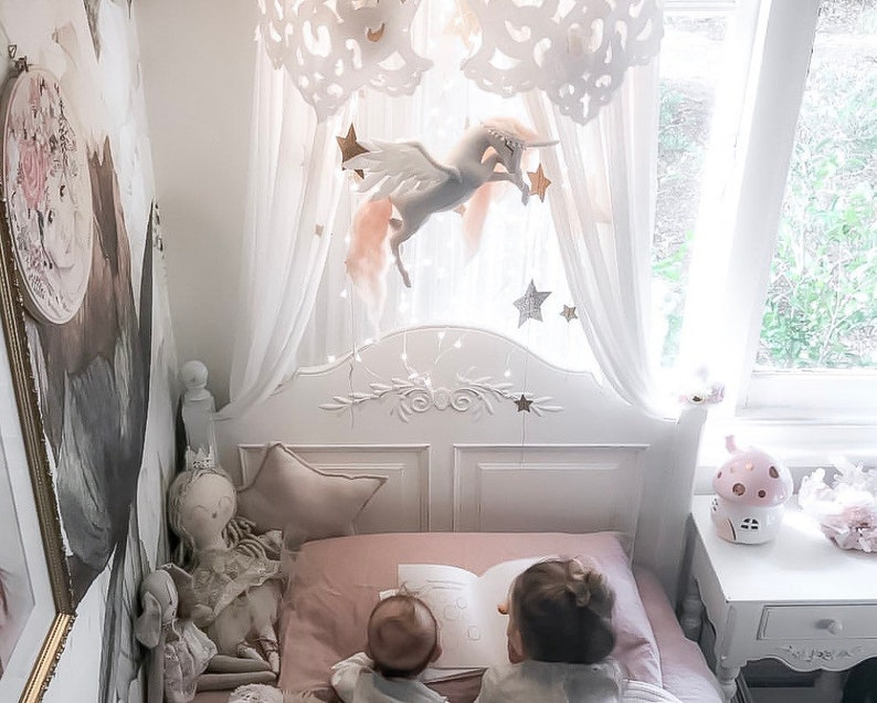 baby mobile  blush pink unicorn mobile  unicorn nursery image 0