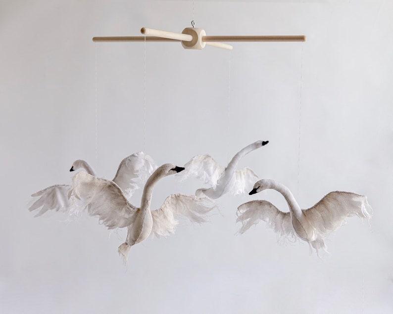 swan mobile  swan nursery decor  swan decor for nursery  image 0