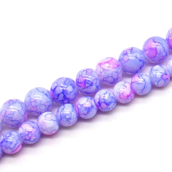 1 Strand of Glass Drawbench Painted Baked Beads Purple