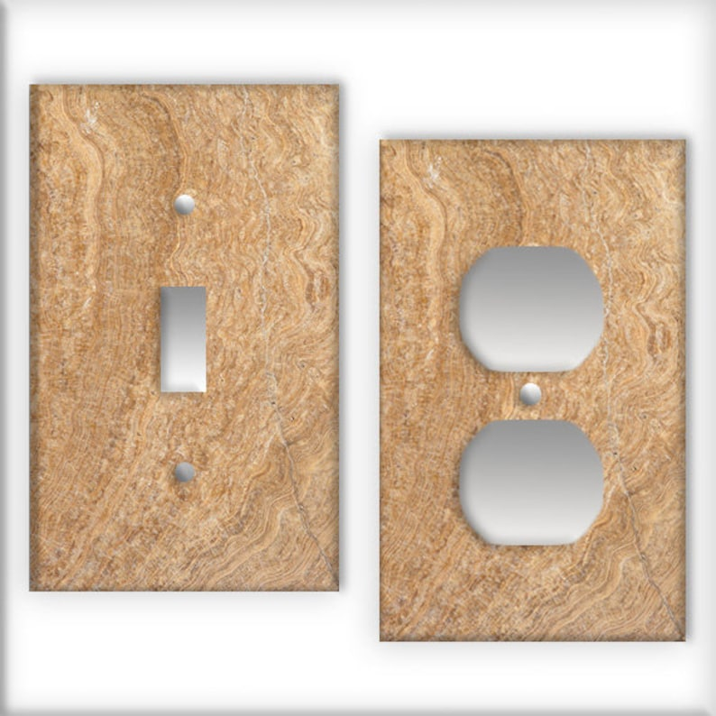 Travertine Pattern Switch Plate Cover   Light Switch / Outlet Cover Custom  Plate Choose Style From Menu, D0027