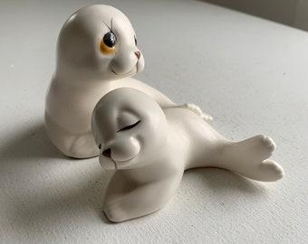Mom and Pup Sealife Animals White Seals Figurines Set of 2 Nursery Decor