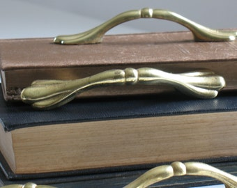 "VTG Antique Salvaged Brass Knobs Cabinet Dresser Drawer Colonial 1.5/"" 4 Lot of"