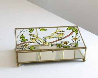 Vintage brass and glass display box / stained glass bird curio box / mirrored hinged glass keepsake box / dresser top decor