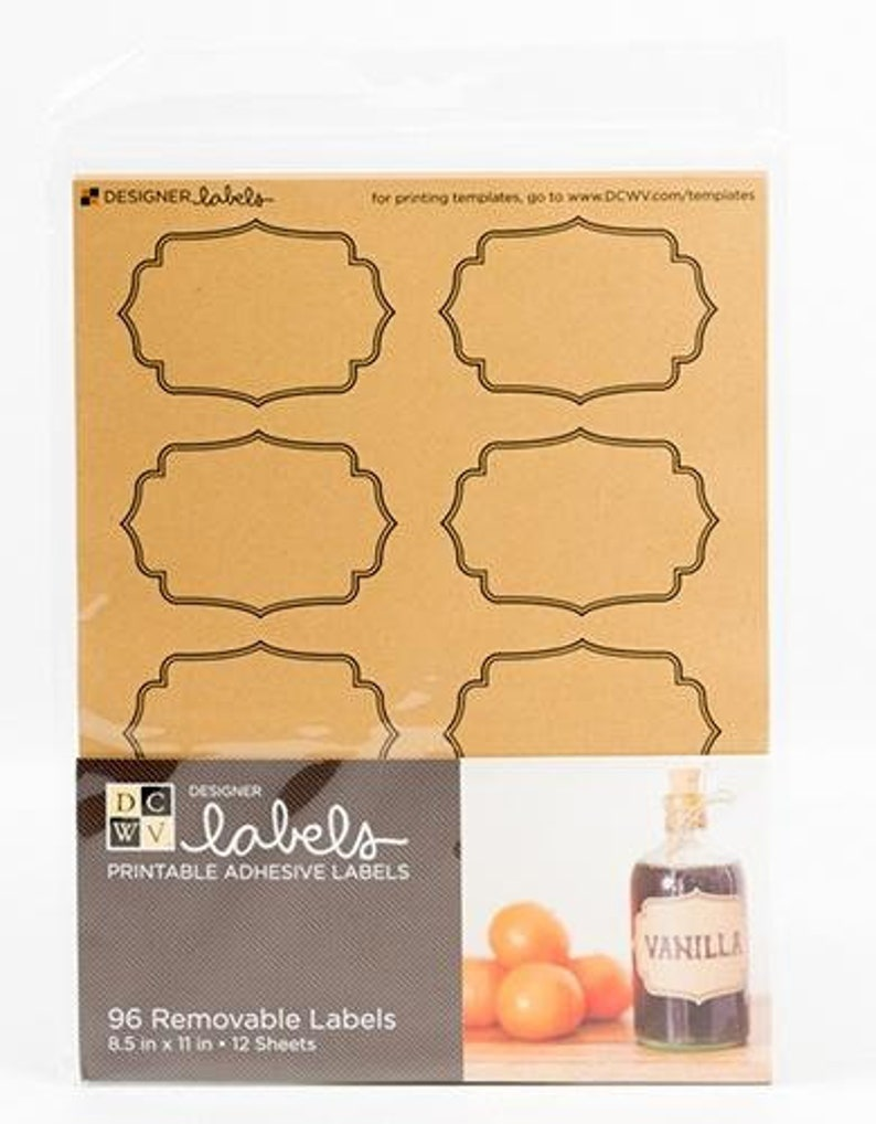 graphic relating to Removable Printable Labels referred to as 96 Labels 12 sheets general DCWV Designer Detachable Labels