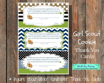 Cookie Fundraiser Thank You Card 5x7 Printable Etsy