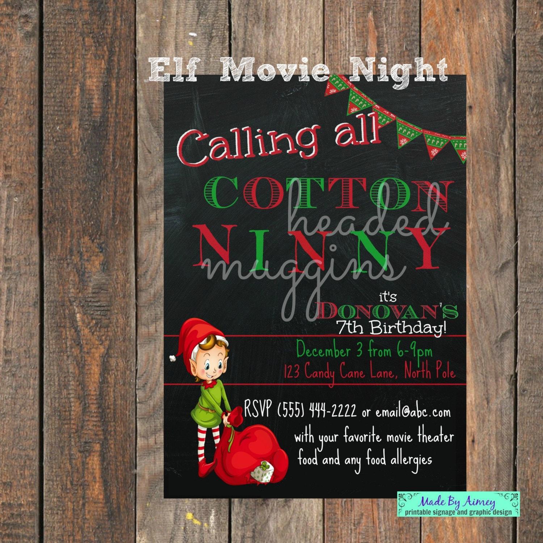 Christmas Movie Pajama Night Party Elf Cotton Headed Ninny   Etsy