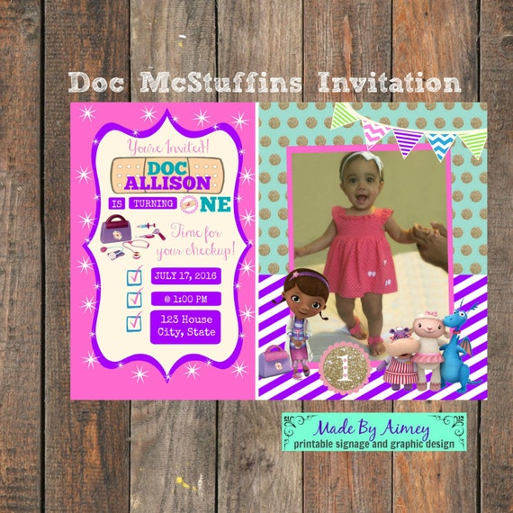 Doc McStuffins 1st Birthday Party Invitation