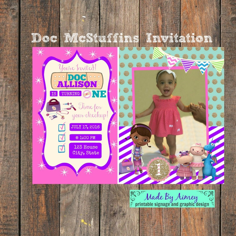 Doc McStuffins 1st Birthday Party Invitation