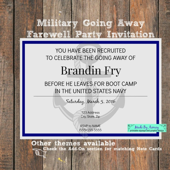 military going away farewell party invitation etsy