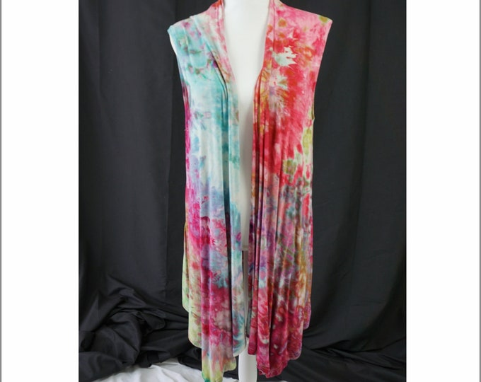 Hand Dyed Sleeveless Waterfall Vest XL Pastel Monet Boho Blue Pink Green