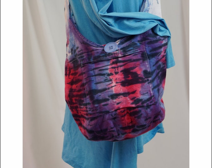 Hand Dyed Shibori Bag Hobo Sling Crossbody Purple Pink Blue Boho Hippie Crossbody Shoulder