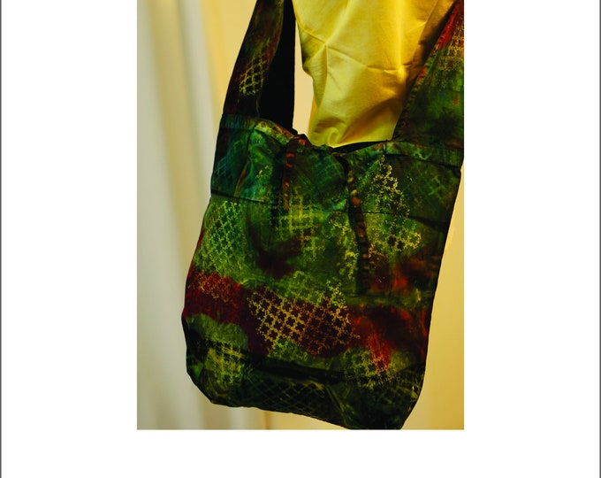 Hand Dyed Shibori Bag Hobo Sling Crossbody Olive Green Brown Gold Detail Hippie Shoulder Bag