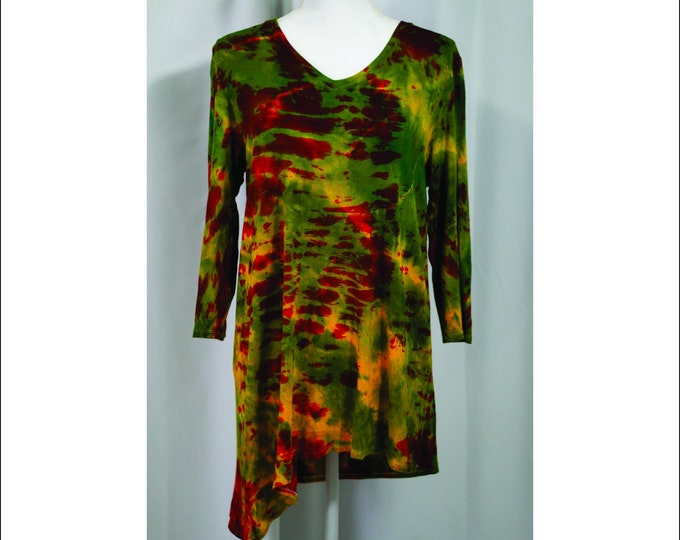 Hand Dyed Long Sleeve Tunic Pullover Yellow Red Green L Boho