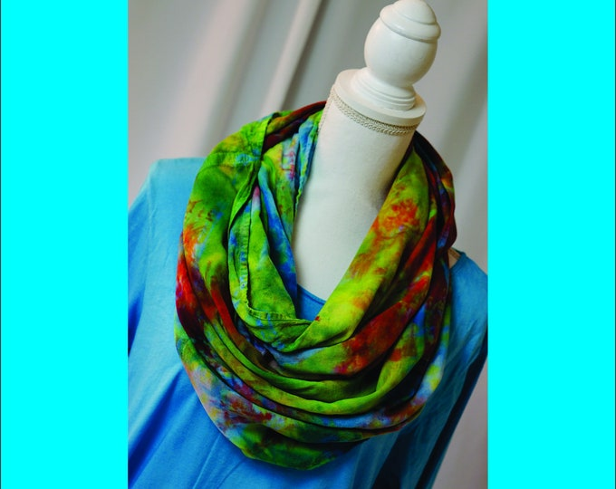 Hand Dye Overdye Eternity Scarf Blue , Green, Red Rainbow