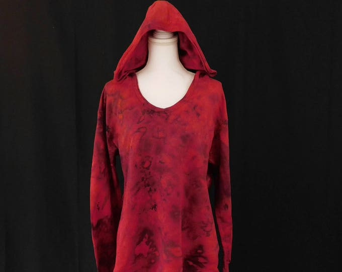 Womans Large Hand Dyed Red Hoodie, Black and Red Art Wear, Hippie Hoodie Perfect for Fall, Pull Over Hoodie, French Terry Pull Over