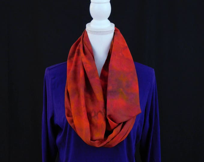 Hand Dyed Orange Eternity Scarf, Dark Orange Infinity Scarf, Soft Colorful Eternity Scarf, Dark Red Infinity Scarf, Gift for Her, Cowl Scarf