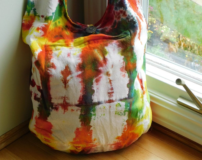 Hand Dyed Autumn Hobo Sling Bag,  Shibori Dyed Orange, Red, Yellow and Blue All Cotton Over the Shoulder Bag, Gift For Her, Festival Bag