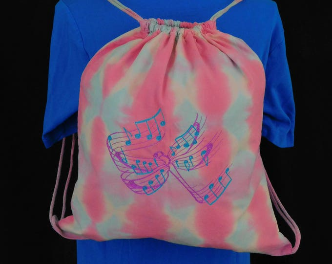 Hand Dyed Shibori Embroidery Backpack Drawstring Butterfly Girls Music Pink Blue Bag