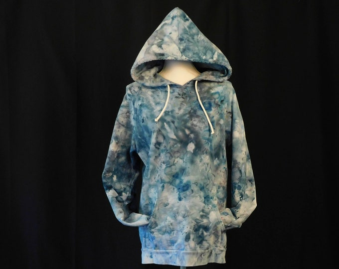 Ice Dyed Unisex Hoodie Size XL, Hand Dyed Pullover Boho Hoodie, Ice Dye Blue Hoodie, Blue Yoga Hoodie, Hand Dyed Yoga Hoodie