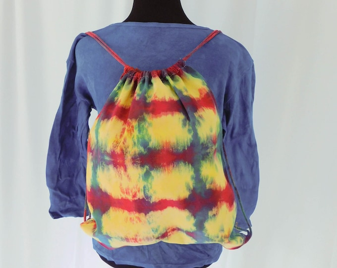 Hand Dyed Shibori Backpack Drawstring School Backpack Bag Multicolor