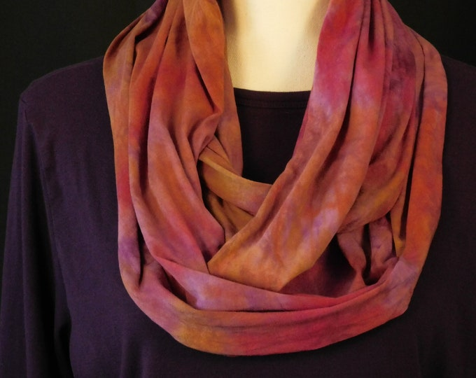 Hand Dyed Eternity Scarf Purple Pink Cotton Autumn Cowl Circular Multi Color