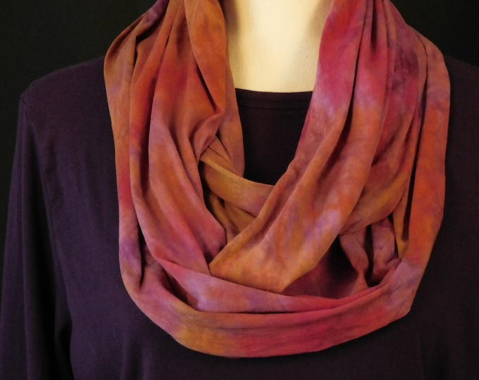 Purple, Pink , All Cotton Womens Scarf, Hand Dyed Eternity Scarf, Autumn Cowl Circular Scarf, Multi Color Ladies Scarf