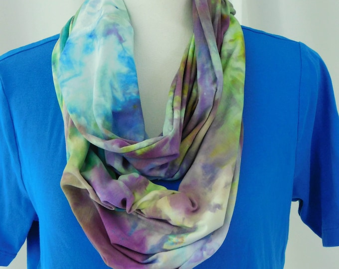 Womans Hand Dyed Blue and Purple Eternity Scarf, Cotton Infinity Scarf, Multicolor All Cotton Eternity Scarf, Orange Eternity, Circle Scarf