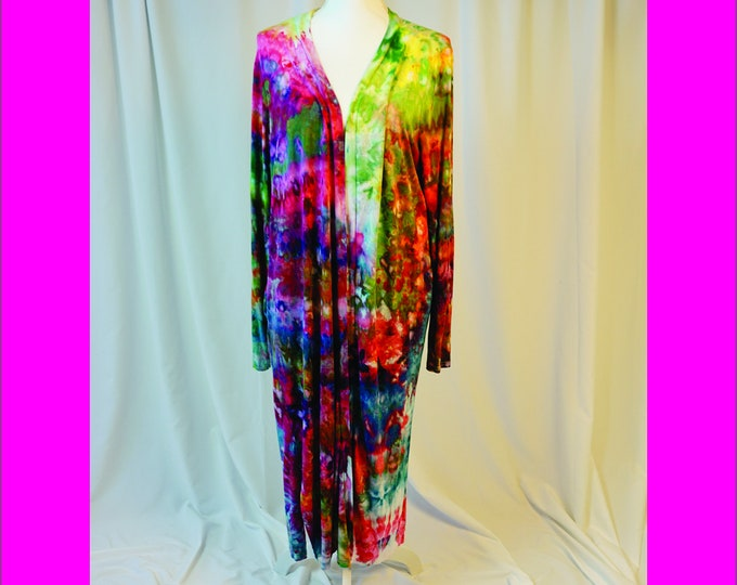 Hand Ice Dyed Boho Cardigan Duster Womens XL Hand  Rainbow Jacket Cover-Up