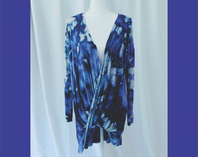 Womens Hand Dyed Navy Tunic Size XL, Plus Size Drape Front Tunic, Cool Rayon Knit Pullover, Boho Long Sleeve Top, High Low Tunic