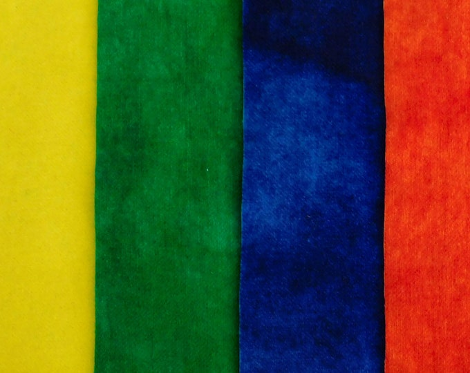 """Hand Dyed Yellow, Green, Blue and Red Felted Wool Fabric, (4) Pieces 8""""x5"""" for RugHooking Quilting, Applique, Sewing, Penny Rugs,"""