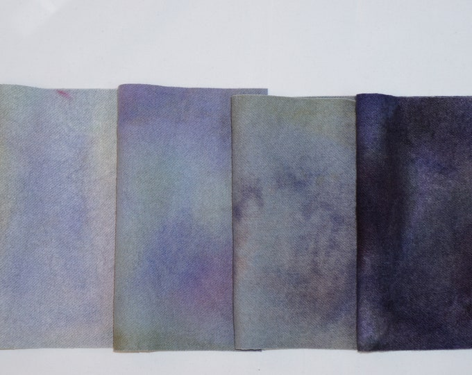 Hand Dyed Felted Wool Fabric with Pastel Colors  for Quilting, Soft Green, Dark Blue, Light Blue, Pastel Purple, Rug Hooking, Crafting