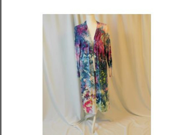 Hand Ice Dyed Long Cardigan Duster Jacket Rainbow Cover-up Boho Robe Blue, Purple, Navy, Pink