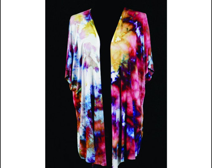 Ice Dyed Cardigan Women's Kimono Style  Adult XLBoho Dark  Red, Blue and Yellow